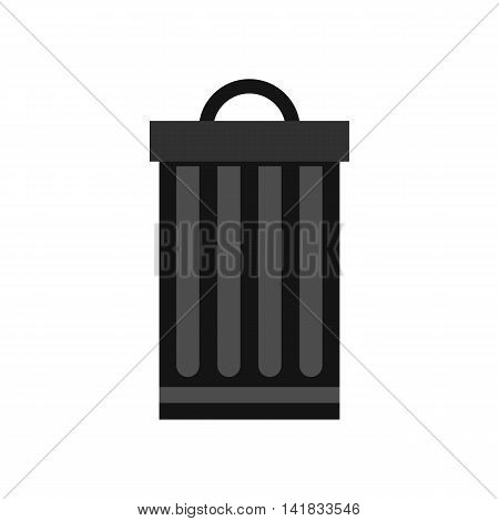 Metal dustbin icon in flat style isolated on white background