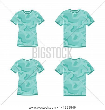 Mens and womens turquoise short sleeve t-shirts templates with the camouflage pattern. Front and back views. Vector flat illustrations