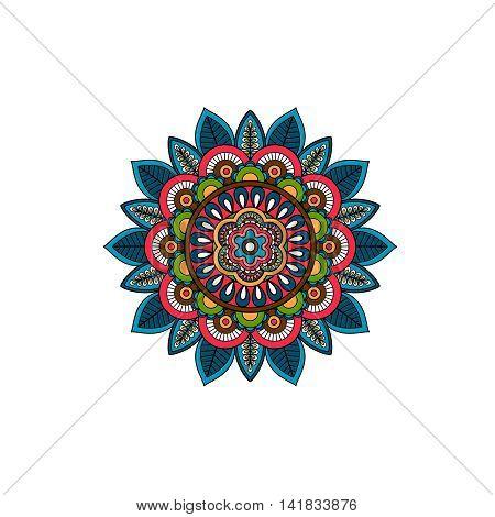 Decorative tribal mandala ornament rosette. Vector illustration