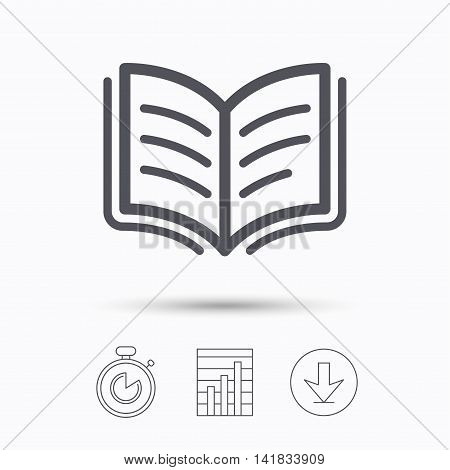 Book icon. Study literature sign. Education textbook symbol. Stopwatch, chart graph and download arrow. Linear icons on white background. Vector