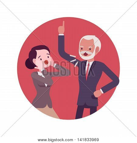 Quarrel scene in the office between the boss and worker. Man and women in a formal wear. Cartoon vector flat-style business concept illustration