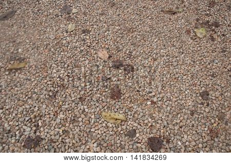 Rail road track ballast stone gravel close-up as background