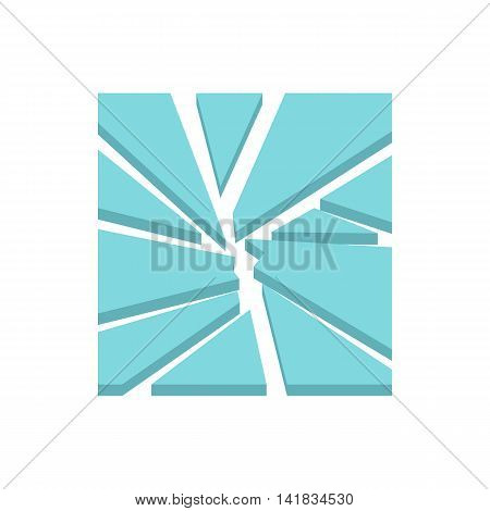 Broken glass icon in flat style isolated on white background. Crashed symbol
