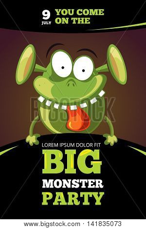 Monster party vector illustration. Monster with tongue and teeth, template of poster for party with monster