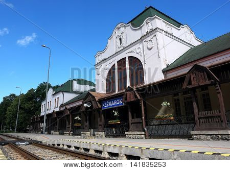 KEZMAROK SLOVAKIA - JULY 07 2016: The old building of railway station in Kezmarok town High Tatras Slovakia