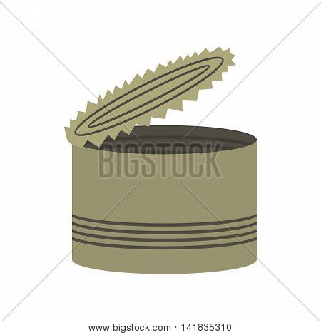 Tin icon in flat style isolated on white background. Packaging symbol