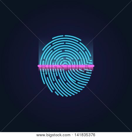Fingerprint electronic scanning, identification system vector illustration. Sensor scanning fingerprint and human pattern fingerprint for security