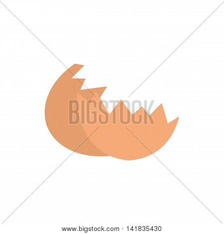 Shells from egg icon in flat style isolated on white background. Food symbol