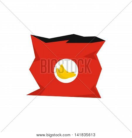 Crumpled bag of chips icon in flat style isolated on white background. Packaging symbol