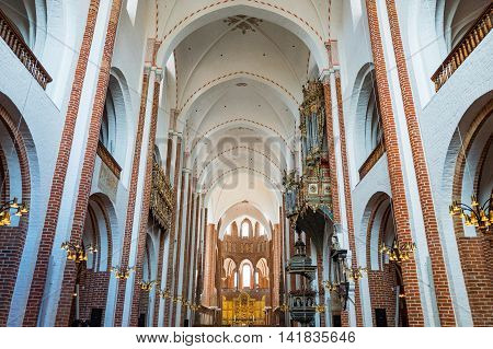 Roskilde Denmark - July 23 2015: The nave of the medieval Cathedral