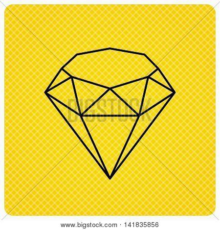 Brilliant icon. Diamond gemstone sign. Linear icon on orange background. Vector