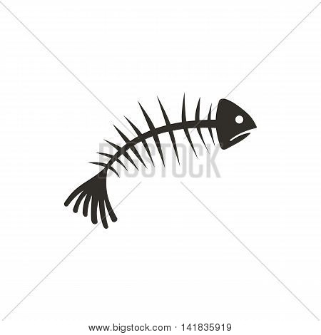 Fish bones icon in flat style isolated on white background. Seafood symbol