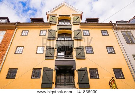 Copenhagen Denmark - July 20 2015: Upward view of a traditional house in Admiral Garden street