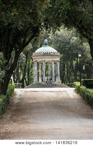 ROME ITALY - JUNE 14 2015: Temple of Diana in garden of Villa Borghese. Rome Italy