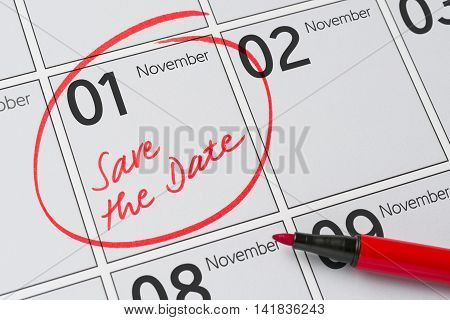 Save The Date Written On A Calendar - November 1
