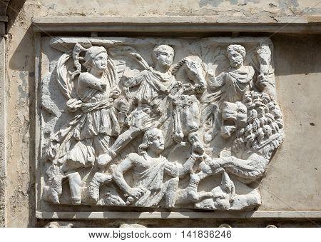 ROME ITALY - JUNE 14 2015: Bas-relief in Garden of Villa Borghese. Rome Italy