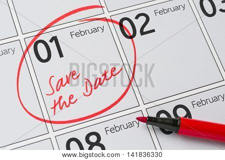 Save The Date Written On A Calendar - February 1