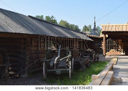 Wooden wagon. The monument of wooden architecture. St. Petersburg Russia
