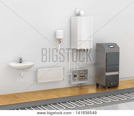 Concept of the scheme of the heating system. Spend a warm floor under the laminate or tile in the bathroom. Electric floor heating. 3d illustration