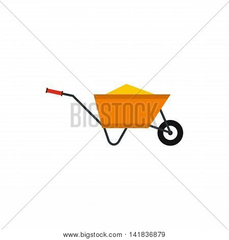 Wheelbarrow with construction debris icon in flat style isolated on white background. Trash symbol