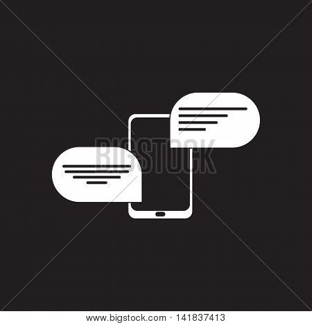 Flat icon in black and  white mobile phone message