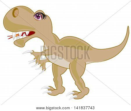 Prehistorical animal dinosaur on white background is insulated