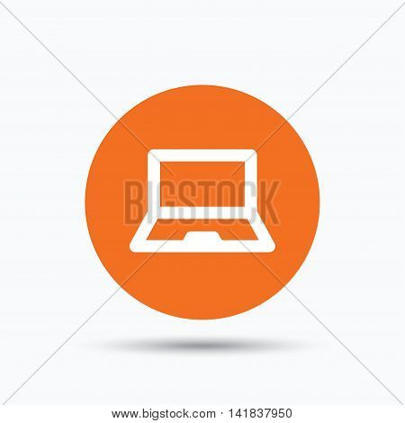 Computer icon. Notebook or laptop pc symbol. Orange circle button with flat web icon. Vector
