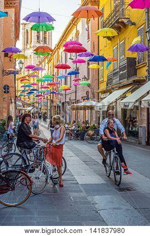 Via Giuseppe Mazzini Of Ferrara. Emilia-romagna. Italy.