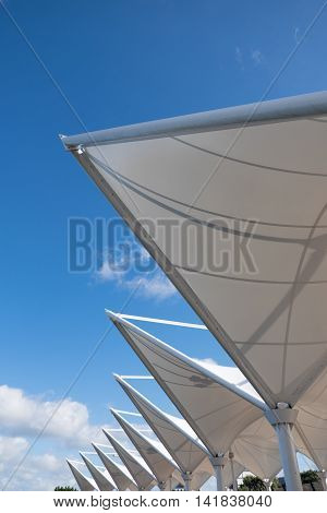 Sail-like shading against a blue sky at Canopy Bridge Whangarei town basin Northland New Zealand NZ