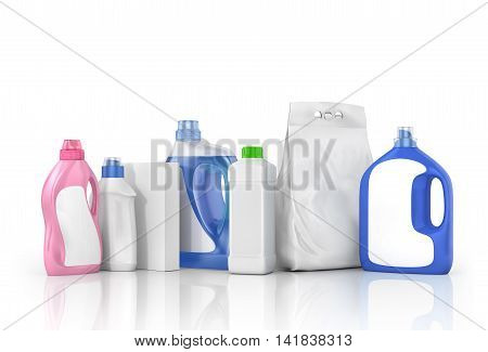 Washing concept. Set of bottles of detergent and washing powder with blank labels. 3d illustration