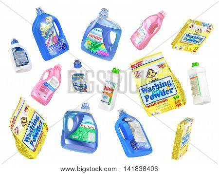 Set of flying detergent bottles and washing powders isolated on a white background. 3d illustration
