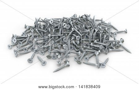 A pile of screws wood screws on a white background. 3D illustration