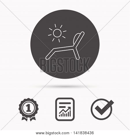 Deck chair icon. Beach chaise longue sign. Report document, winner award and tick. Round circle button with icon. Vector