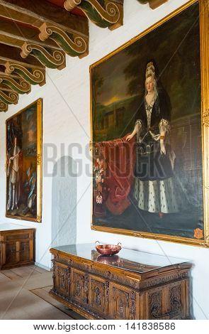 Kvaerndrup Denmark - July 21 2015: Noble portraits in the hall of he Egeskov castle