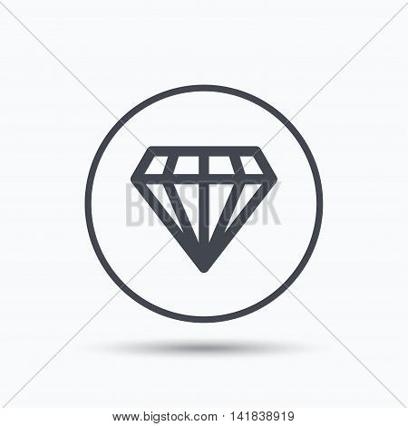 Diamond icon. Jewelry gem symbol. Brilliant jewel sign. Circle button with flat web icon on white background. Vector