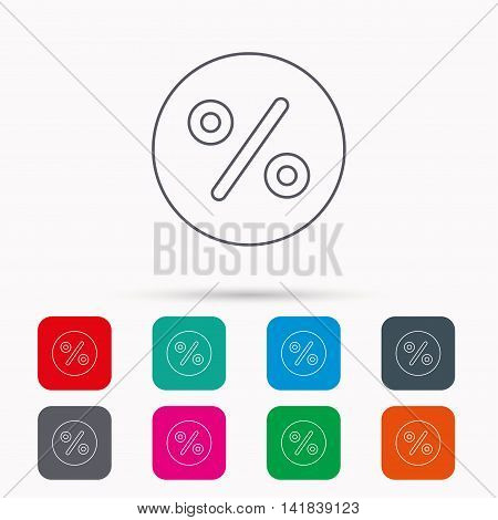 Discount percent icon. Sale sign. Special offer symbol. Linear icons in squares on white background. Flat web symbols. Vector
