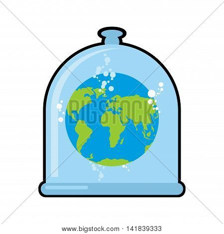 Earth in Glass bell. Conservation and protection of nature. Globe in laboratory flask. Planet study. Glass Bank Research. Experimental data analysis. Globe in liquid vector