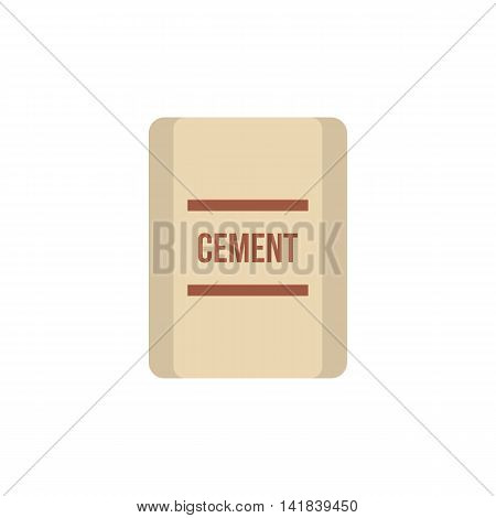 Pouch of cement icon in flat style isolated on white background. Building material symbol