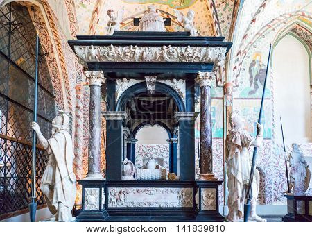 Roskilde Denmark - July 23 2015: The Chapel Of The Magi (Christian I Chapel) in the medieval Cathedral