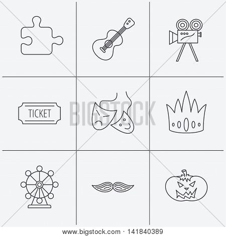 Puzzle, guitar music and theater masks icons. Ticket, video camera and crown linear signs. Entertainment, halloween pumpkin and mustache icons. Linear icons on white background. Vector