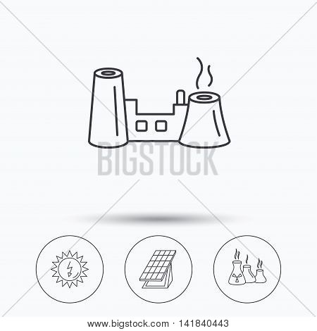 Solar collector energy, factory and industries icons. Solar energy linear signs. Linear icons in circle buttons. Flat web symbols. Vector