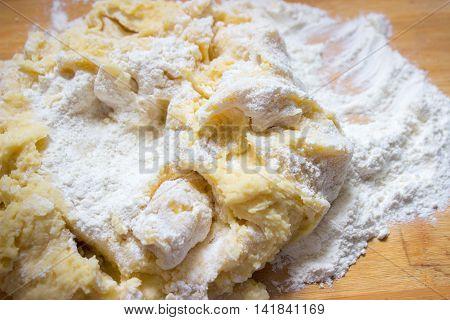 Potato dough made for dumplings or gnocchi