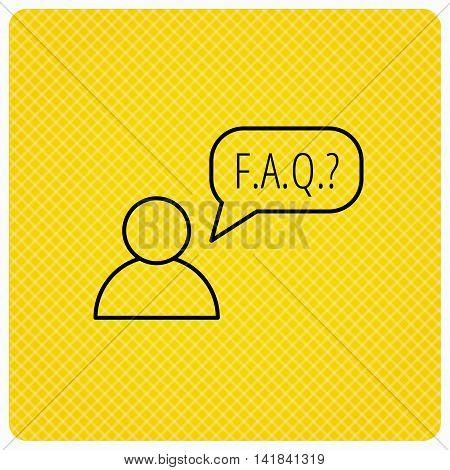 FAQ service icon. Support speech bubble sign. Human symbol. Linear icon on orange background. Vector