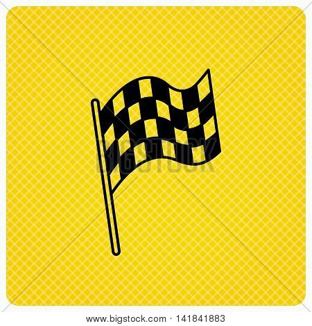 Finish flag icon. Start race sign. Linear icon on orange background. Vector