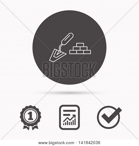 Finishing icon. Spatula with bricks sign. Report document, winner award and tick. Round circle button with icon. Vector