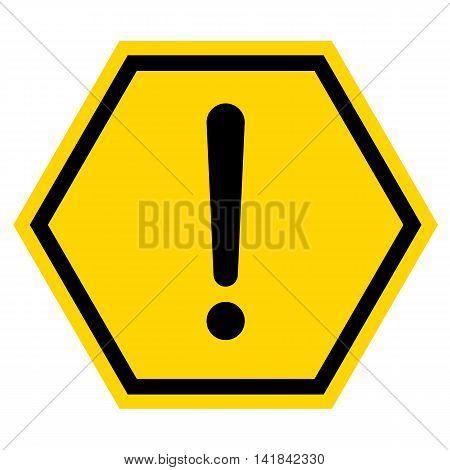 Hazard warning sign with hexagon symbol isolated on white background.