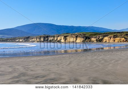 View Of The Beach In South Island, New Zealand