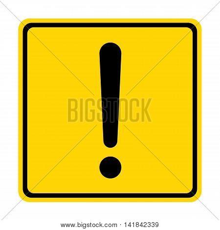 Hazard warning sign with square symbol isolated on white background.