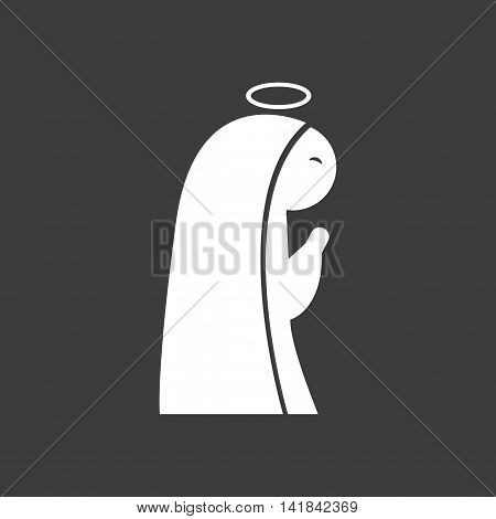 flat icon in black and white style Virgin Mary
