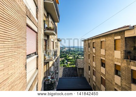 fifth floor building terrace sunny day view